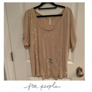 Free People Tan Embroidered Top